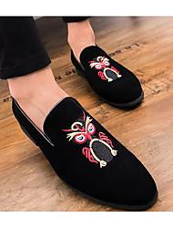 hesapli -Erkek Ayakkabı Süet İlkbahar & Kış Mokasen & Bağcıksız Ayakkabılar Günlük için Siyah / Kırmzı