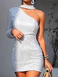 baratos -Mulheres Elegante Bainha Vestido Sólido Acima do Joelho