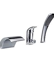 Недорогие -Смеситель для ванны - Современный Хром Римская ванна Керамический клапан Bath Shower Mixer Taps / Одной ручкой три отверстия