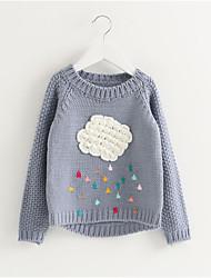 お買い得  -子供 女の子 ストリートファッション ジャカード 長袖 レギュラー ポリエステル セーター&カーデガン ルビーレッド