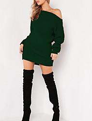 Недорогие -Жен. Свободный силуэт Трикотаж Платье С открытыми плечами Выше колена / Сексуальные платья
