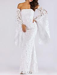Недорогие -Жен. Классический Оболочка Платье - Однотонный, Кружева Макси