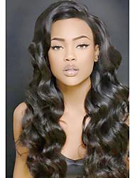 Недорогие -Необработанные натуральные волосы Лента спереди Парик Глубокое разделение стиль Бразильские волосы Волнистый Парик 130% 150% 180% Плотность волос / Природные волосы / с детскими волосами / Glueless