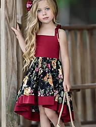 お買い得  -子供 女の子 甘い 日常 フラワー プリント ノースリーブ アシメントリー ドレス ルビーレッド