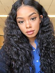 Недорогие -человеческие волосы Remy Полностью ленточные Лента спереди Парик Бразильские волосы Афро Квинки Глубокий курчавый Черный Парик Ассиметричная стрижка 130% 150% 180% Плотность волос