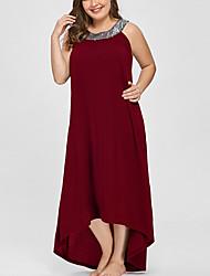 Недорогие -Жен. Большие размеры Классический Свободный силуэт Прямое Платье U-образный вырез Ассиметричное