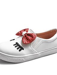 Недорогие -Девочки Обувь Синтетика Зима Удобная обувь Мокасины и Свитер Бант для Дети Серебряный / Красный