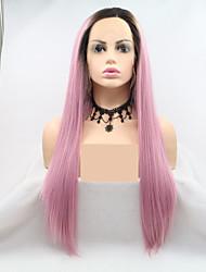 voordelige -Pruik Lace Front Synthetisch Haar Dames KinkyRecht / Natuurlijk recht Zwart Gelaagd kapsel 130% Human Hair Density Synthetisch haar 24 inch(es) Dames Zwart / Roze Pruik Lang Kanten Voorkant Zwart