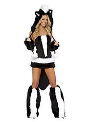 Недорогие -Кошка Волк-женщины Костюм Санта-одежда Жен. Взрослые Хэллоуин Рождество Рождество Хэллоуин Карнавал Фестиваль / праздник Терилен Полиэстер Инвентарь Черный Черный и белый