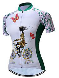 Недорогие -TELEYI Жен. С короткими рукавами Велокофты - Белый Цветочные / ботанический Велоспорт Джерси Дышащий Быстровысыхающий Виды спорта Полиэстер Горные велосипеды Шоссейные велосипеды Одежда / Эластичная