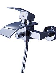 abordables -Robinet de douche / Robinet de baignoire - Moderne Chrome Baignoire et douche Soupape céramique Bath Shower Mixer Taps / Laiton / Mitigeur deux trous