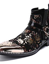 Недорогие -Муж. Платья Наппа Leather Зима На каждый день / Английский Ботинки Сохраняет тепло Сапоги до середины икры Черный / Для вечеринки / ужина