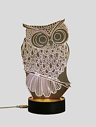 Недорогие -1 комплект Сова 3D ночной свет Тёплый белый USB Креатив / Безопасность / Украшение 5 V