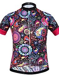 Недорогие -JESOCYCLING Жен. С короткими рукавами Велокофты - Черный Цветочные / ботанический Велоспорт Джерси Верхняя часть Быстровысыхающий Виды спорта 100% полиэстер Горные велосипеды Шоссейные велосипеды