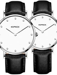 Недорогие -Kopeck Для пары Наручные часы электронные часы Японский Японский кварц согласование Его и ее Натуральная кожа Черный / Серый / Шоколадный 30 m Защита от влаги Повседневные часы Аналоговый