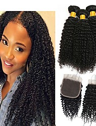 halpa -3 pakkausta sulkemalla Kinky Curly Virgin-hius Käsittelemätön aitoa hiusta Hiukset kutoo Bundle Hair Yksi pakkaus ratkaisu 8-20 inch Luonnollinen väri Hiukset kutoo Tulokas Tyylikäs Muoti Hiukset