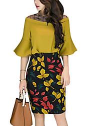 Недорогие -Жен. Офис Классический Вспышка рукава Блуза С высокой талией Юбки - С принтом / Лето / Flare рукавом
