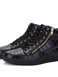 hesapli -Erkek Ayakkabı PU Bahar Günlük Spor Ayakkabısı Günlük için Beyaz / Siyah
