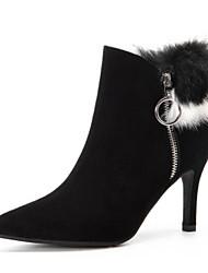 Недорогие -Жен. Кожа Наступила зима На каждый день Ботинки На шпильке Заостренный носок Ботинки Черный / Серый
