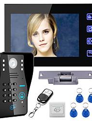 Недорогие -Touch key 7 lcd rfid пароль видео домофон домофон комплект электрический замок блокировки беспроводной пульт дистанционного управления