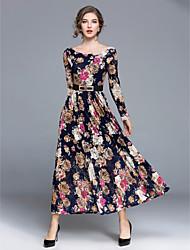 Χαμηλού Κόστους -Γυναικεία Κομψό στυλ street Swing Φόρεμα - Φλοράλ Μακρύ