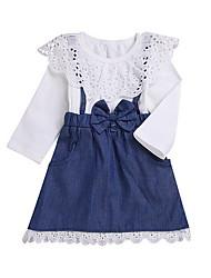 お買い得  -赤ちゃん 女の子 ベーシック ソリッド 長袖 ポリエステル ドレス ブルー