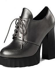 Недорогие -Жен. Наппа Leather Весна & осень Английский Туфли на шнуровке На толстом каблуке Заостренный носок Черный / Светло-коричневый