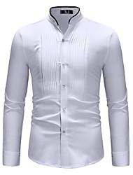 Недорогие -Муж. Рубашка Воротник-стойка Классический Контрастных цветов Белый / Длинный рукав