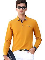 Недорогие -Муж. Классический Polo Хлопок, Рубашечный воротник Тонкие Активный Однотонный / Длинный рукав