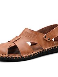 hesapli -Erkek Ayakkabı Deri Yaz Vintage / Günlük Sandaletler Günlük / Dış mekan için Siyah / Kahverengi