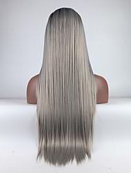 Недорогие -Синтетические кружевные передние парики Жен. Прямой Омбре Средняя часть 180% Человека Плотность волос Искусственные волосы 18-26 дюймовый Регулируется / Жаропрочная / Эластичный Омбре Парик Длинные