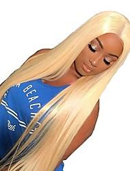 Недорогие -человеческие волосы Remy Лента спереди Парик Бразильские волосы Шелковисто-прямые Черный Парик Стрижка каскад Средняя часть 130% Плотность волос с детскими волосами Женский Sexy Lady