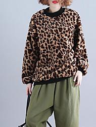 Недорогие -женская толстовка с длинным рукавом - леопардовый шею желтый один размер