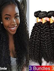 Недорогие -3 Связки Бразильские волосы Монгольские волосы Kinky Curly 8A Натуральные волосы Необработанные натуральные волосы Подарки Фотография Косплей Костюмы 8-28 дюймовый Естественный цвет