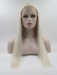 abordables -Perruque Lace Front Synthétique Droit Style Partie libre Lace Frontale Perruque Blanc Blanc crème Cheveux Synthétiques 18-26 pouce Femme Ajustable / Dentelle / Résistant à la chaleur Blanc Perruque