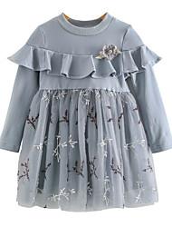 お買い得  -子供 女の子 甘い 日常 フラワー メッシュ 長袖 膝丈 ドレス ブルー