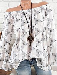 Недорогие -Жен. Оборки / С открытыми плечами / тропический Блуза С открытыми плечами Уличный стиль Горошек / Цветочный принт / С принтом