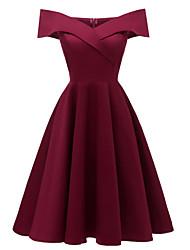 abordables -Femme Basique Asymétrique Balançoire Robe - Mosaïque Epaules Dénudées Noir Marine Vin L XL XXL Coton Manches Courtes