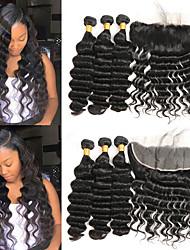 tanie -3 zestawy z zamknięciem Włosy brazylijskie Deep Wave Włosy naturalne remy Doczepy z naturalnych włosów Taśma włosów z zamknięciem 8-26 in Ludzkie włosy wyplata Modny design Miękka Najwyższa jakość