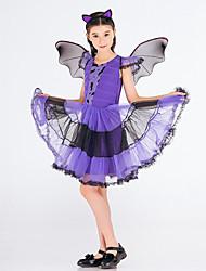 abordables -Elf Carnaval Costume Fille Enfant Halloween Halloween Carnaval Mascarade Fête / Célébration Polyester Tenue Violet Animal