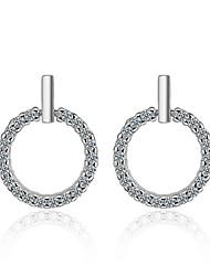 abordables -Blanc Sans Couture Boucles d'Oreille - Zircon, S925 argent sterling Diamant Style Simple, Doux, Elégant Argent Pour Soirée Cadeau Femme / 1 paire