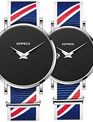 Недорогие -Kopeck Для пары Наручные часы электронные часы Японский Японский кварц Нейлон Черный / Серый / Небесно-голубой 30 m Защита от влаги Новый дизайн Повседневные часы Аналоговый На каждый день минималист