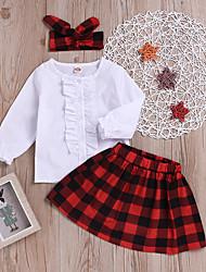 abordables -bébé Fille Actif / Chic de Rue Soirée / Sortie Tartan / Mosaïque Mosaïque / Imprimé Manches Longues Normal Normal Coton / Spandex Ensemble de Vêtements Rouge