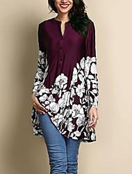 Недорогие -женский плюс размер блузка - цветной круглый шею