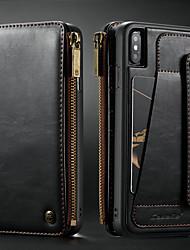 Недорогие -Кейс для Назначение Apple iPhone XS Max Бумажник для карт / Защита от удара / со стендом Чехол Однотонный Твердый Кожа PU