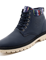 cheap -Men's Combat Boots PU(Polyurethane) Winter Casual Boots Keep Warm Mid-Calf Boots Black / Blue / Khaki