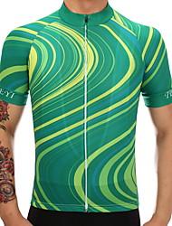 Недорогие -TELEYI Муж. С короткими рукавами Велокофты - Лиловый Зеленый Синий Велоспорт Джерси Быстровысыхающий Виды спорта Полиэстер Горные велосипеды Шоссейные велосипеды Одежда / Эластичная / SBS молнии
