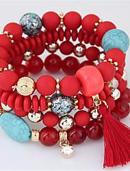 Χαμηλού Κόστους -Γυναικεία Ștrasuri Βραχιόλια Strand - Ρητίνη Θύσανος, Μποέμ, Ευρωπαϊκό Βραχιόλια Κοσμήματα Πορτοκαλί / Κόκκινο / Μπλε Απαλό Για Πάρτι Δώρο