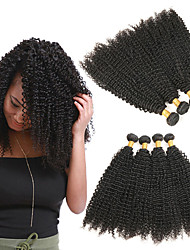 billige -4 pakker Brasiliansk hår Kinky Curly Remy Menneskehår Hairextensions med menneskehår 8-28 tommers Hårvever med menneskehår Stilig Design Myk Beste kvalitet Hairextensions med menneskehår Dame