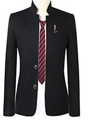 abordables -Homme Quotidien Basique Automne Normal Blazer, Couleur Pleine Col Droit Manches Longues Polyester Noir / Marine / Gris XXXL / 4XL / XXXXXL
